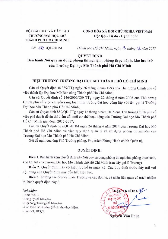 02-13-2017-193-QD-DHM- Noi quy su dung phong thi nghiem, thuc hanh, kho luu tru cua Truongpng_Page1