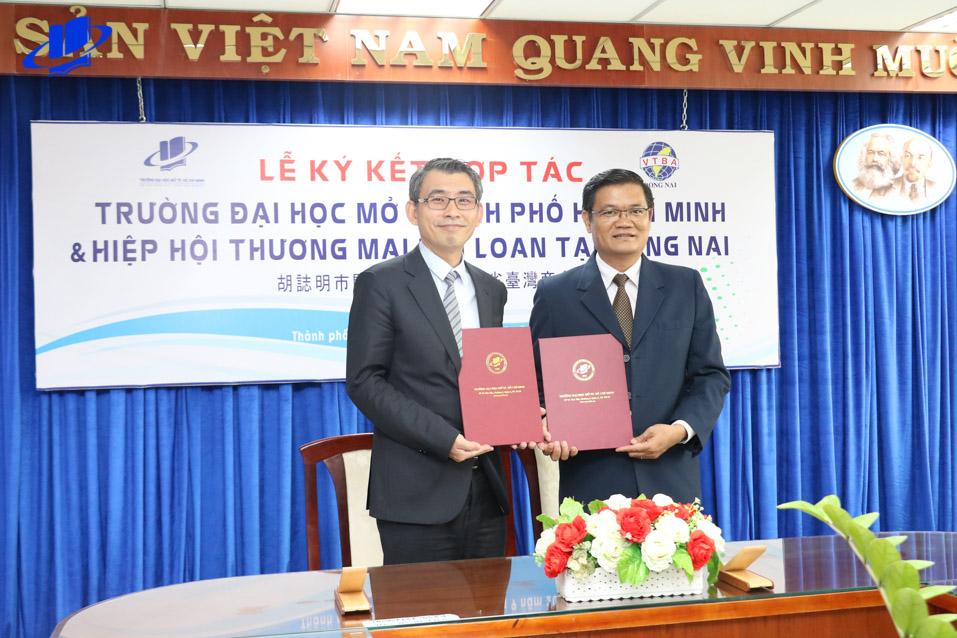 Lễ ký kết hợp tác hỗ trợ sinh viên giữa trường Đại học Mở Thành phố Hồ Chí Minh và Hiệp hội Thương mại Đài Loan tại Đồng Nai