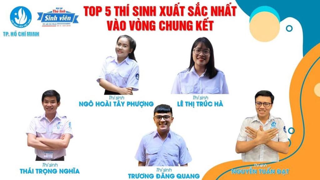 Top 5 Thí sinh vào Vòng Chung kết Hội thi Thủ lĩnh Sinh viên TP. Hồ Chí Minh năm 2019.