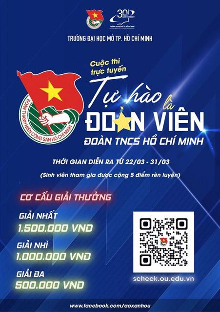 """Cuộc thi trực truyến """"Tự hào là Đoàn viên Đoàn TNCS Hồ Chí Minh"""" được triển khai trực tuyến trên hệ thống trắc nghiệm của trường ĐH Mở TP.HCM."""