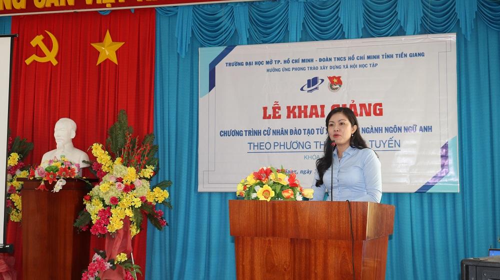 Đồng chí Nguyễn Thị Uyên Trang – Ủy viên Ban Thường vụ Trung ương Đoàn, Tỉnh ủy viên, Bíthư Tỉnh đoàn Tiền Giang phát biểu tại buổi lễ
