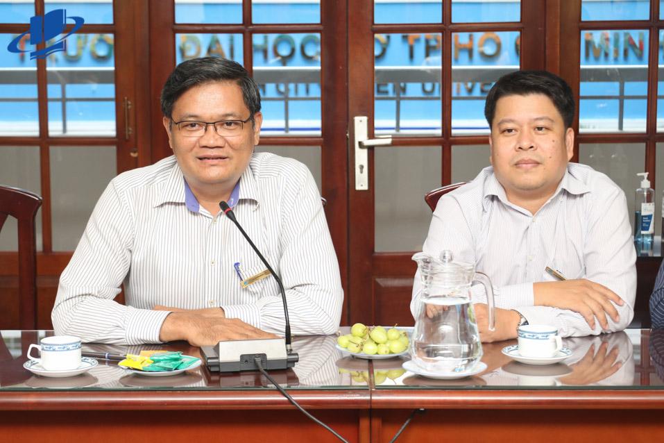 PGS.TS. Nguyễn Minh Hà - Hiệu trưởng và TS. Lê Nguyễn Quốc Khang - Phó Hiệu trưởng tại buổi làm việc