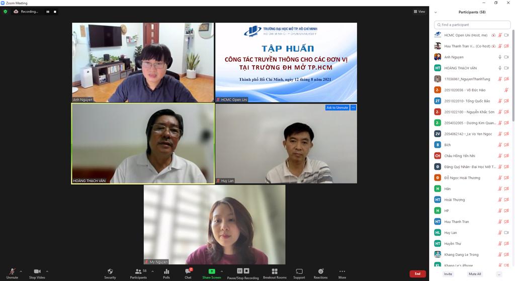Trường Đại học Mở TPHCM tổ chức tập huấn công tác truyền thông năm 2021